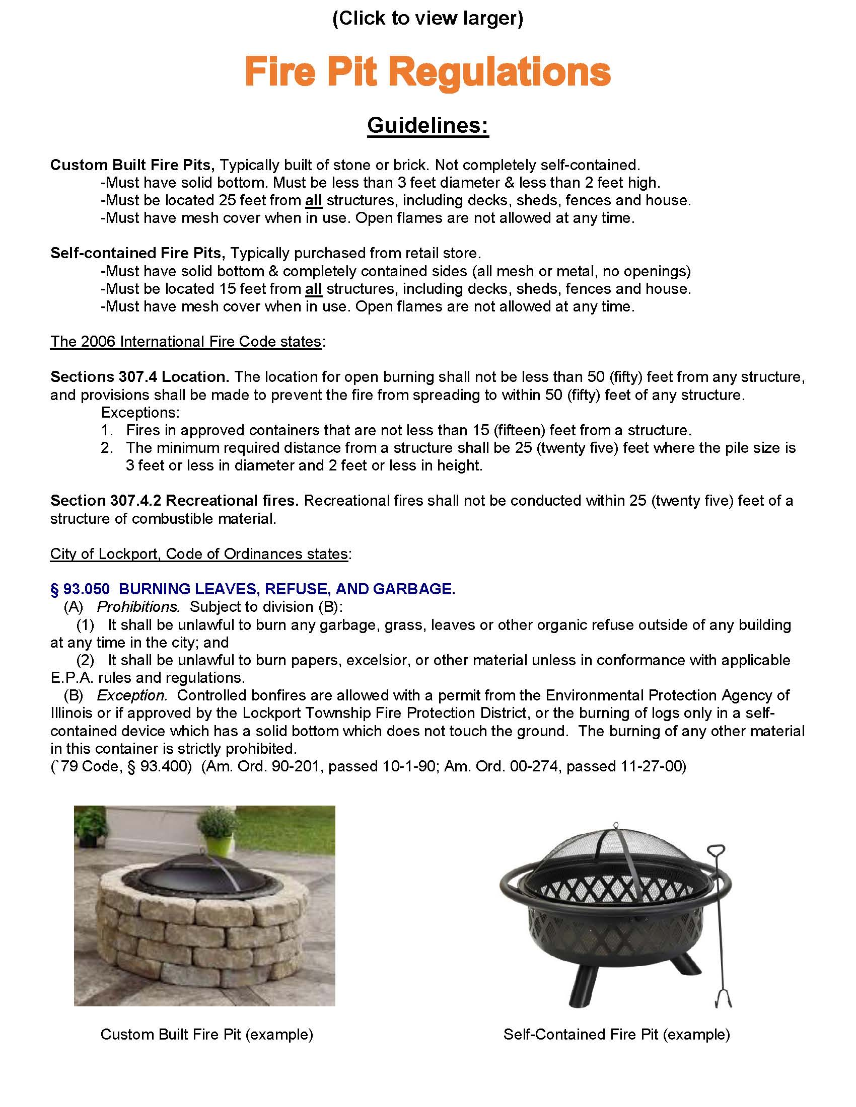 Fire Pit Regulations